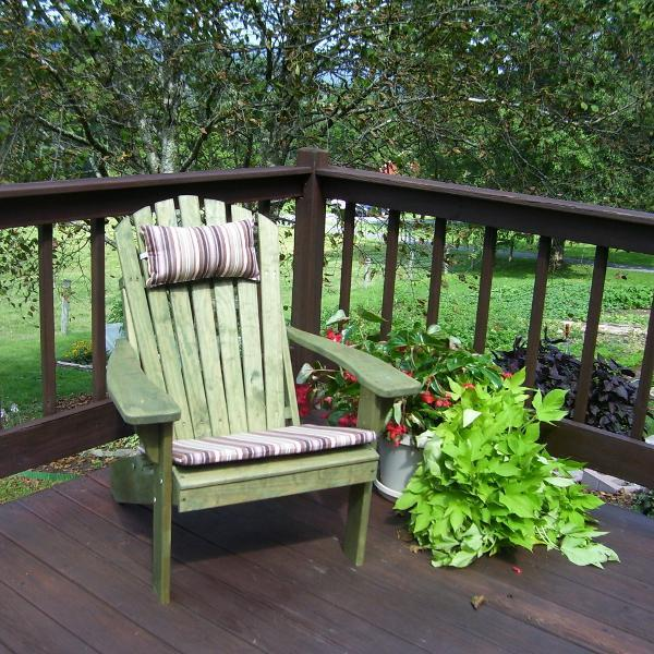 A & L Furniture Pressure Treated Pine Fanback Adirondack Chair Adirondack Linden Leaf