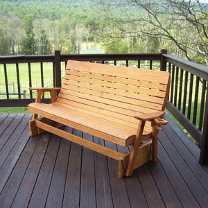 A & L Furniture Pressure Treated Pine Highback Glider Gliders 4ft / Unfinished