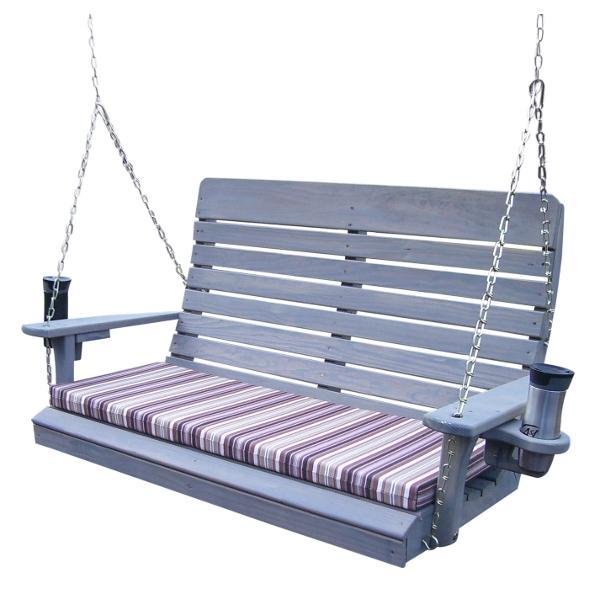 A & L Furniture Pressure Treated Pine Highback Porch Swing Porch Swings 4ft / Gray