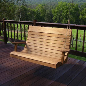 A & L Furniture Pressure Treated Pine Highback Porch Swing Porch Swings 4ft / Oak
