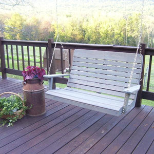 A & L Furniture Pressure Treated Pine Highback Porch Swing Porch Swings 4ft / Unfinished