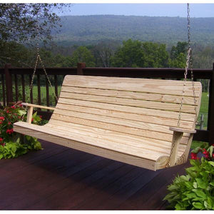 A & L Furniture Pressure Treated Pine Highback Porch Swing Porch Swings 6ft / Unfinished