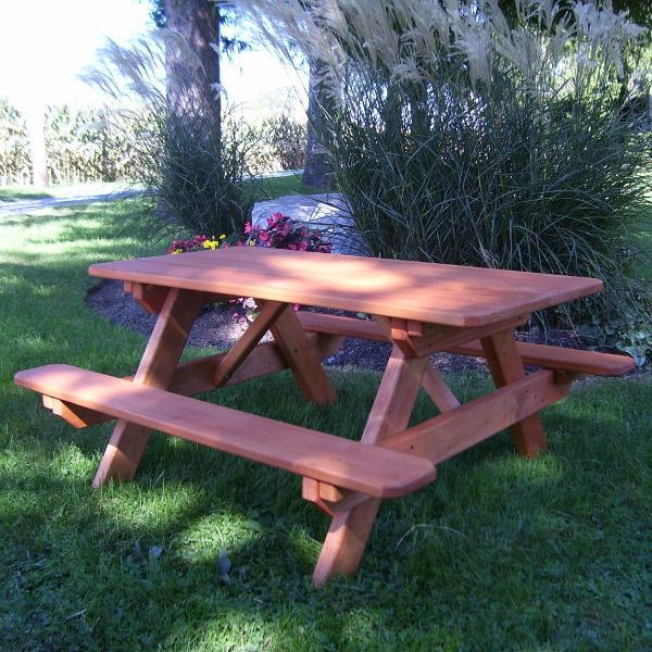 A & L Furniture Pressure Treated Pine Kids Picnic Table Picnic Table Redwood / No