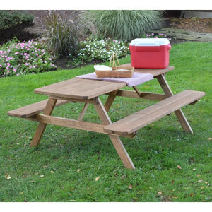 A & L Furniture Pressure Treated Pine Picnic Table with Attached Benches Picnic Table 4ft / Oak / No