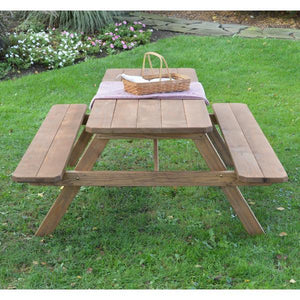 A & L Furniture Pressure Treated Pine Picnic Table with Attached Benches Picnic Table 4ft / Unfinished / No