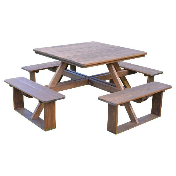 A & L Furniture Pressure Treated Pine Square Walk-In Table Picnic Table Unfinished / No