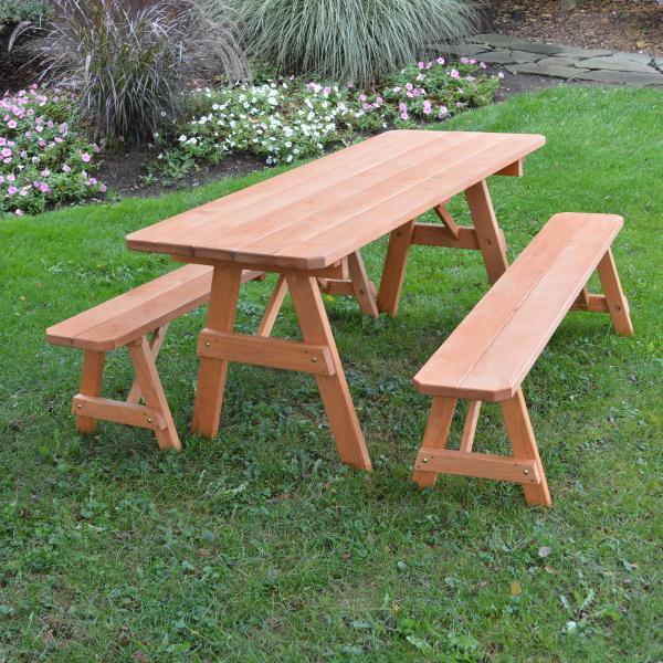 A & L Furniture Pressure Treated Pine Traditional Table with 2 Benches Dining Bench Sets 4ft / Cedar / No