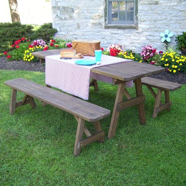 A & L Furniture Pressure Treated Pine Traditional Table with 2 Benches Dining Bench Sets 4ft / Unfinished / No