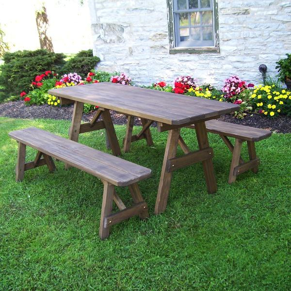 A & L Furniture Pressure Treated Pine Traditional Table with 2 Benches