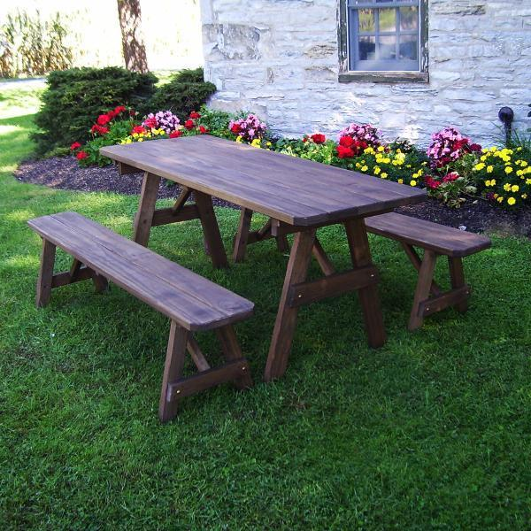 A & L Furniture Pressure Treated Pine Traditional Table with 2 Benches Dining Bench Sets 4ft / Walnut / No