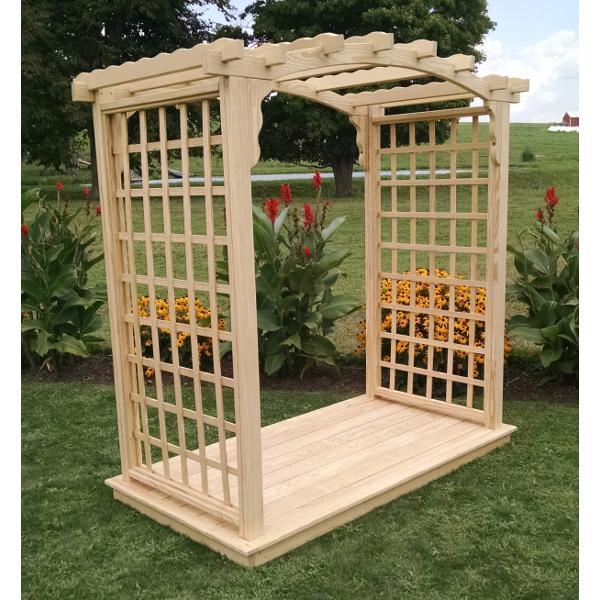 A & L Furniture Pressure Treated Yellow Pine Cambridge Arbor & Deck Porch Swing Stands 4ft / Unfinished