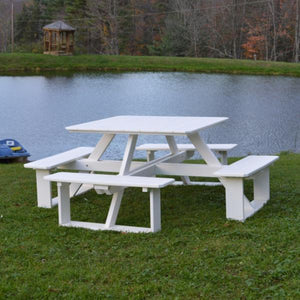 A & L Furniture Recycled Plastic 44 Inch Square Walk-In Table Picnic Table Aruba Blue / No