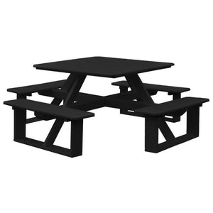 A & L Furniture Recycled Plastic 44 Inch Square Walk-In Table Picnic Table Black / No