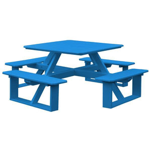 A & L Furniture Recycled Plastic 44 Inch Square Walk-In Table Picnic Table Blue / No