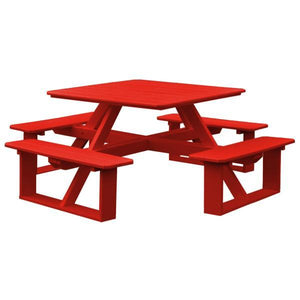A & L Furniture Recycled Plastic 44 Inch Square Walk-In Table Picnic Table Bright Red / No