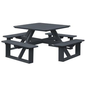 A & L Furniture Recycled Plastic 44 Inch Square Walk-In Table Picnic Table Dark Gray / No