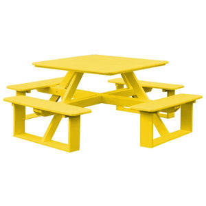 A & L Furniture Recycled Plastic 44 Inch Square Walk-In Table Picnic Table Lemon Yellow / No