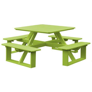 A & L Furniture Recycled Plastic 44 Inch Square Walk-In Table Picnic Table Tropical Lime / No