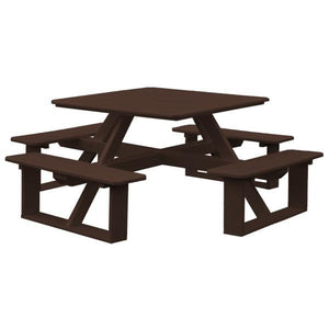 A & L Furniture Recycled Plastic 44 Inch Square Walk-In Table Picnic Table Tudor Brown / No