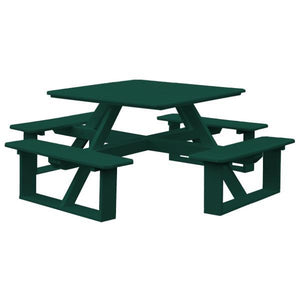 A & L Furniture Recycled Plastic 44 Inch Square Walk-In Table Picnic Table Turf Green / No
