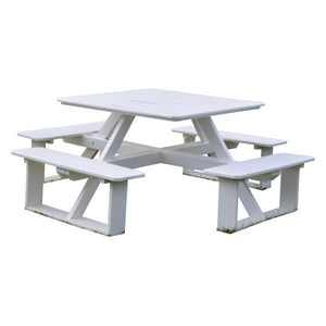 A & L Furniture Recycled Plastic 44 Inch Square Walk-In Table Picnic Table White / No