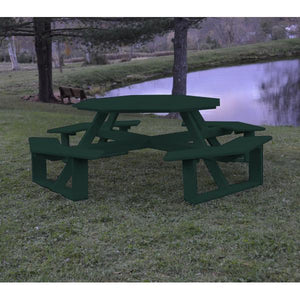 A & L Furniture Recycled Plastic 54 Inch Octagon Walk-In Table Picnic Table Aruba Blue / No