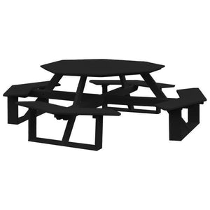 A & L Furniture Recycled Plastic 54 Inch Octagon Walk-In Table Picnic Table Black / No