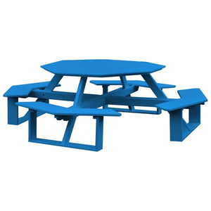 A & L Furniture Recycled Plastic 54 Inch Octagon Walk-In Table Picnic Table Blue / No