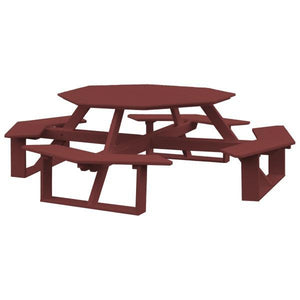 A & L Furniture Recycled Plastic 54 Inch Octagon Walk-In Table Picnic Table Cherrywood / No