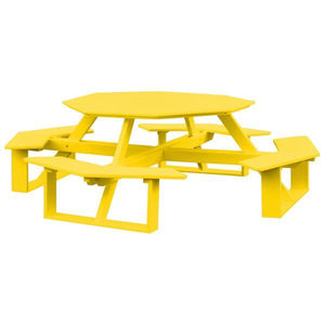 A & L Furniture Recycled Plastic 54 Inch Octagon Walk-In Table Picnic Table Lemon Yellow / No