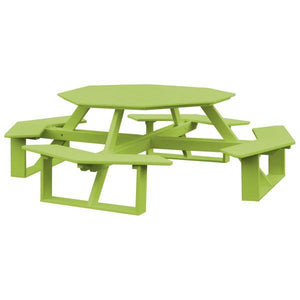 A & L Furniture Recycled Plastic 54 Inch Octagon Walk-In Table Picnic Table Tropical Lime / No