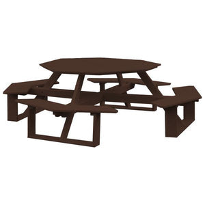 A & L Furniture Recycled Plastic 54 Inch Octagon Walk-In Table Picnic Table Tudor Brown / No