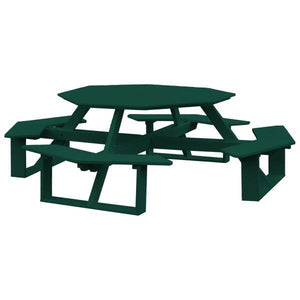 A & L Furniture Recycled Plastic 54 Inch Octagon Walk-In Table Picnic Table Turf Green / No