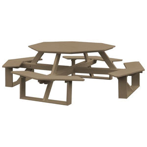 A & L Furniture Recycled Plastic 54 Inch Octagon Walk-In Table Picnic Table Weathered Wood / No