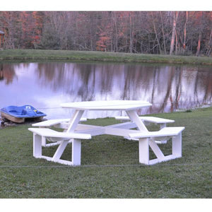 A & L Furniture Recycled Plastic 54 Inch Octagon Walk-In Table Picnic Table White / No