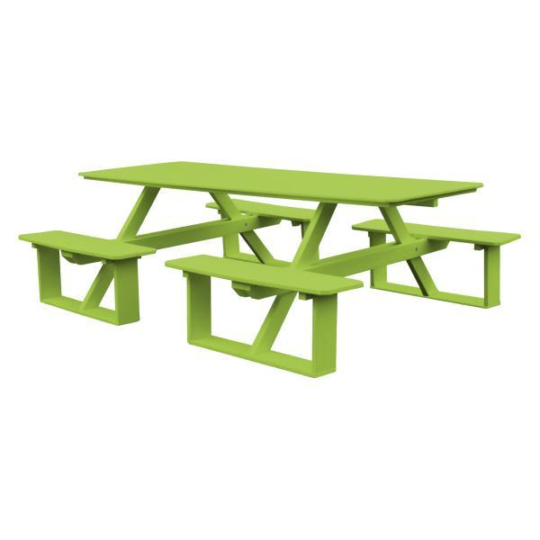A & L Furniture Recycled Plastic 8 ft Walk-In Table Picnic Table Aruba Blue / No