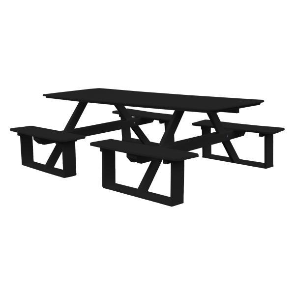 A & L Furniture Recycled Plastic 8 ft Walk-In Table Picnic Table Black / No
