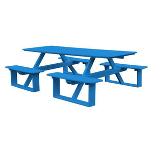 A & L Furniture Recycled Plastic 8 ft Walk-In Table Picnic Table Blue / No