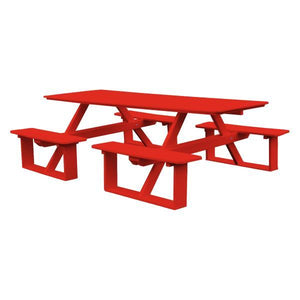 A & L Furniture Recycled Plastic 8 ft Walk-In Table Picnic Table Bright Red / No