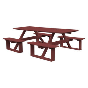 A & L Furniture Recycled Plastic 8 ft Walk-In Table Picnic Table Cherrywood / No