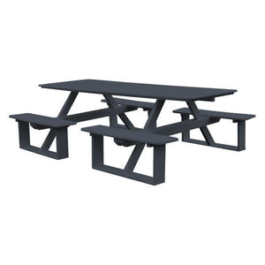 A & L Furniture Recycled Plastic 8 ft Walk-In Table Picnic Table Dark Gray / No