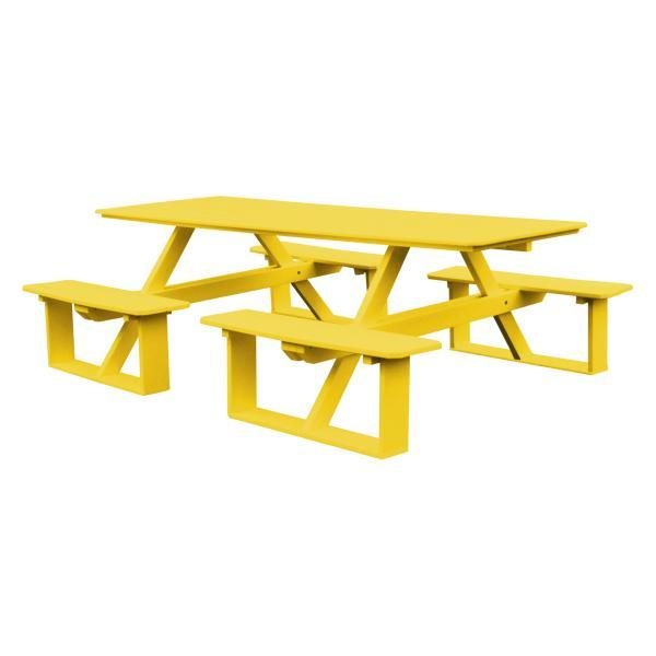 A & L Furniture Recycled Plastic 8 ft Walk-In Table Picnic Table Lemon Yellow / No