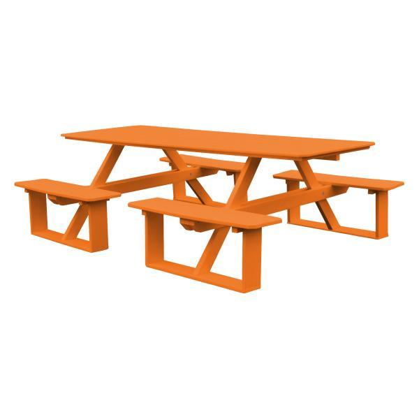 A & L Furniture Recycled Plastic 8 ft Walk-In Table Picnic Table Orange / No