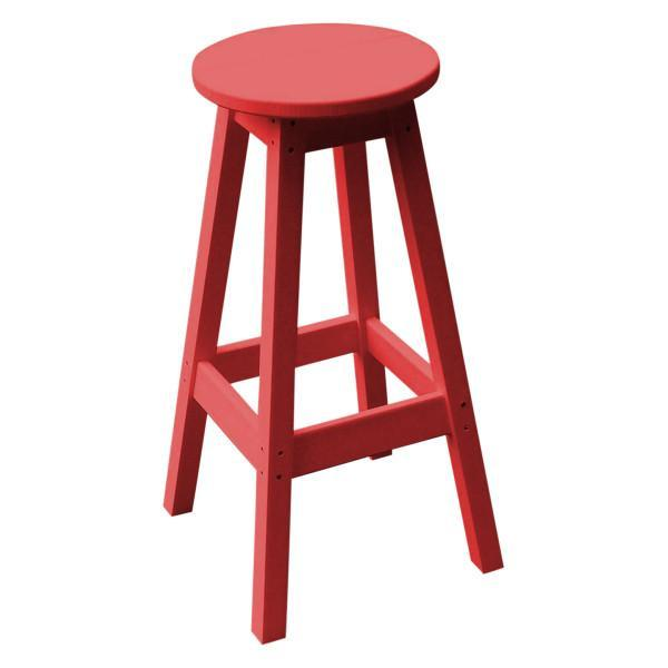 A & L Furniture Recycled Plastic Bar Stool Stool Bright Red