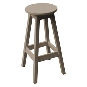 A & L Furniture Recycled Plastic Bar Stool Stool Weathered Wood
