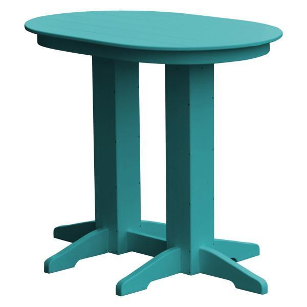 A & L Furniture Recycled Plastic Oval Bar Table Bar Table 4ft / Aruba Blue / No