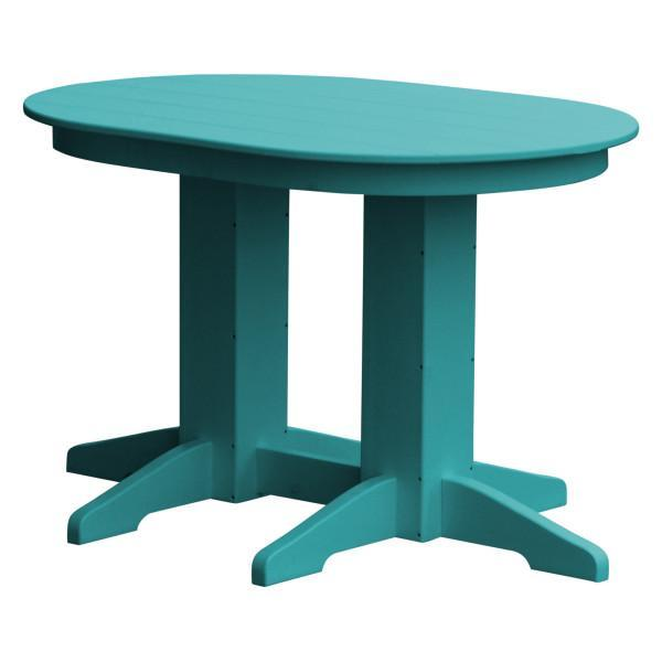 A & L Furniture Recycled Plastic Oval Dining Table Dining Table 4ft / Aruba-Blue