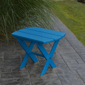A & L Furniture Recycled Plastic Poly Folding End Table End Table Blue