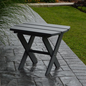 A & L Furniture Recycled Plastic Poly Folding End Table End Table Dark Gray