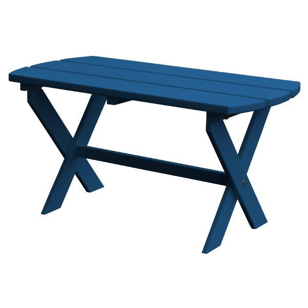 A & L Furniture Recycled Plastic Poly Folding Oval Coffee Table Coffee Table Aruba Blue